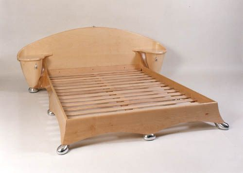 Sycamore bed with cast aluminium feet. :  bedroom furniture designer sycamore bed aluminum feet